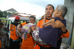 Rescuer. To give relief to the victims of the earthquake in Yogyakarta, Indonesia Royalty Free Stock Photo