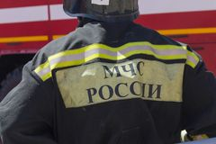 Rescuer in uniform with the inscription `Ministry of Internal Affairs of Russia` Stock Photography
