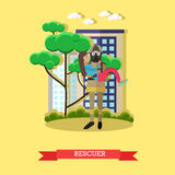 Rescuer vector illustration in flat style. Stock Photography