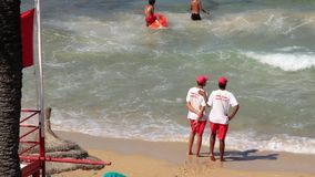 Rescuers on the beach. TUNISIA, SOUSSE, JULY 9, 2010: Rescuers on the beach in Sousse, Tunisia, July 9, 2010 stock video footage