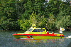 Rescuers on a boat, Berlin 2015. Rescue boat on the river Havel, Berlin 2015 Royalty Free Stock Photo