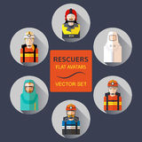 Rescuers flat avatars vector set. Rescuers flat avatars vector set Royalty Free Stock Images