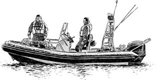 Rescuers in a lifeboat Royalty Free Stock Images