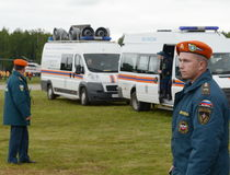 Rescuers at the training ground of the Noginsk rescue center of the Ministry of Emergency Situations during the International Salo Stock Photography