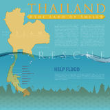 Rescute South of THAILAND Flood. Infographic for present rescue helping Thailand flooding Stock Image