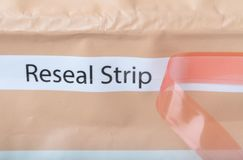Reseal strip on food packaging Royalty Free Stock Photos