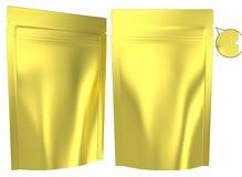 Resealable stående plastpåse för guld- folie royaltyfri illustrationer