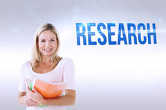 Research against grey background Royalty Free Stock Photos