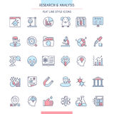 Research and Analysis Icon Set. In Flat Line Style. Vector illustration Stock Photo