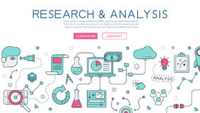 Research and analysis for website banner and landing page Stock Image