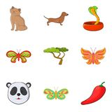 Research on animal icons set, cartoon style Stock Photography