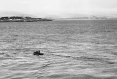 Research Boat Going Toward The Coastline Of Anvers Island, Antarctica royalty free stock photo