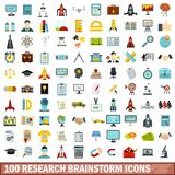 100 research brainstorm icons set, flat style. 100 research brainstorm icons set in flat style for any design vector illustration royalty free illustration
