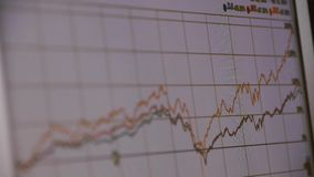 Research the business data wavy chart,computer show financial stock digital. stock video