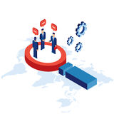 Research communication partnership Businessman and successful business concept isometric Royalty Free Stock Photos