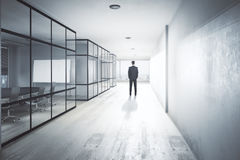 Research concept. Back view of young businessman in modern office hallway interior with equipment, city view and daylight. Research conept. 3D Rendering Stock Image