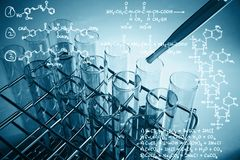 Research concept. Blue lab equipment and chemical formulas on light background. Research concept. 3D Rendering stock images