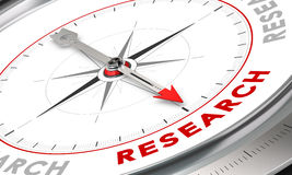 Research Concept. Compass with needle pointing the word research. Conceptual illustration for cognition development and inovation Royalty Free Stock Image