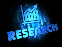 Research Concept on Dark Digital Background. Research Concept - Blue Color Text with Growth Chart Icon on Dark Digital Background Stock Image