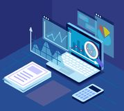 Research concept pc on table. Case study research concept pc on table. Flat style vector Royalty Free Stock Photography