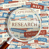 RESEARCH. Concept related words in tag cloud. Conceptual info-text graphic. Word collage Stock Photos
