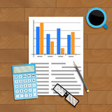 Research and count statistics. Analysis paper economy, calculating report, vector illustration Royalty Free Stock Photos