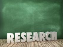 RESEARCH 3D Word on Chalkboard Background. High Quality 3D Rendering royalty free illustration