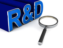 Research and development. R&D or research and development, text on white background with lens showing detailed work involved in the activity Royalty Free Stock Photos
