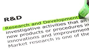 Research and Development Definition. Definition of Research and Development highlighted in green, under the heading R stock photography