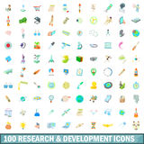 100 research and development icons set. In cartoon style for any design vector illustration Royalty Free Stock Photos