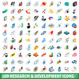 100 research development icons set. In isometric 3d style for any design vector illustration royalty free illustration