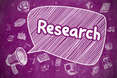 Research - Doodle Illustration on Purple Chalkboard. Stock Photography