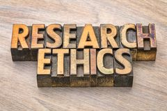 Research ethics word abstract in wood type Royalty Free Stock Photo