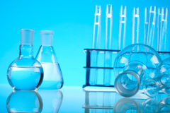 Research and experiments, bright modern chemical concept.  Royalty Free Stock Photos