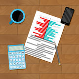 Research finance chart. Vector review financial flowchart, organization and planning illustration Royalty Free Stock Photos