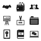 Research finance icons set, simple style. Research finance icons set. Simple set of 9 research finance vector icons for web isolated on white background Royalty Free Stock Photo