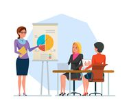 Girl, office worker, speaker, conducts training, business conference, shows presentation. Research, financial analysis. Work and business plans, prospect of Royalty Free Stock Photos