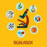Research flat infographic Stock Photography