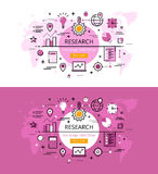 Research. Flat line color hero images and hero banners design co. Set of modern  illustration concepts of market research. Line flat design hero banners for Royalty Free Stock Photography