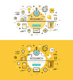Research. Flat line color hero images and hero banners design co. Set of modern vector illustration concepts of market research. Line flat design hero banners Stock Image