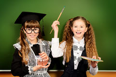 Research girls Royalty Free Stock Image
