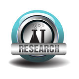 Research icon. Isolated blue research icon with chemical tubes. Research concept Stock Photos