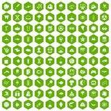 100 research icons hexagon green. 100 research icons set in green hexagon isolated vector illustration Stock Images