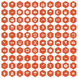 100 research icons hexagon orange. 100 research icons set in orange hexagon isolated vector illustration Royalty Free Stock Images