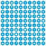 100 research icons set blue. 100 research icons set in blue hexagon isolated vector illustration vector illustration