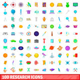 100 research icons set, cartoon style. 100 research icons set in cartoon style for any design vector illustration Stock Photography