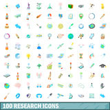 100 research icons set, cartoon style. 100 research icons set in cartoon style for any design vector illustration Royalty Free Stock Photos