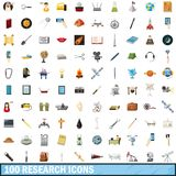 100 research icons set, cartoon style. 100 research icons set in cartoon style for any design vector illustration Royalty Free Stock Image