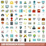 100 research icons set, flat style. 100 research icons set in flat style for any design vector illustration Royalty Free Stock Image