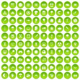 100 research icons set green. 100 research icons set in green circle isolated on white vectr illustration stock illustration